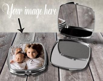 Personalised Image Photo Compact Mirror Birthday Wedding Bridesmaid Gift