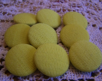 "Vintage Large 15/16"" Chartreuse Knit Buttons, Set of 9 (no. 259)"