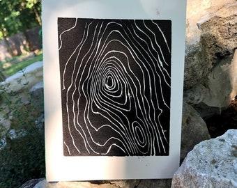 "Linocut Print 5"" x 7"""