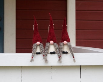 Swedish tomte ornaments, jultomte, nisse, Swedish christmas gnome, scandinavian christmas decoration, girl gnome, 100% wool
