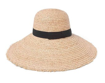 Elegant lafite straw hat children summer beach folding along the sun hat hanging side face