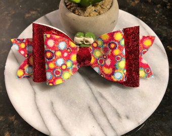 Red glitter with paint splattered patterned leather glitter hair bow for little girl 5 inches 2