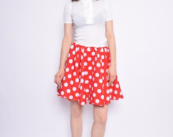 Vintage 80's Red Polka Dot Skirt / Full Circle Skirt / Minnie Mouse Skirt - Size Medium