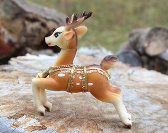 Vintage Japan Rubber Reindeer Christmas Decoration Plastic Reindeer Figurine
