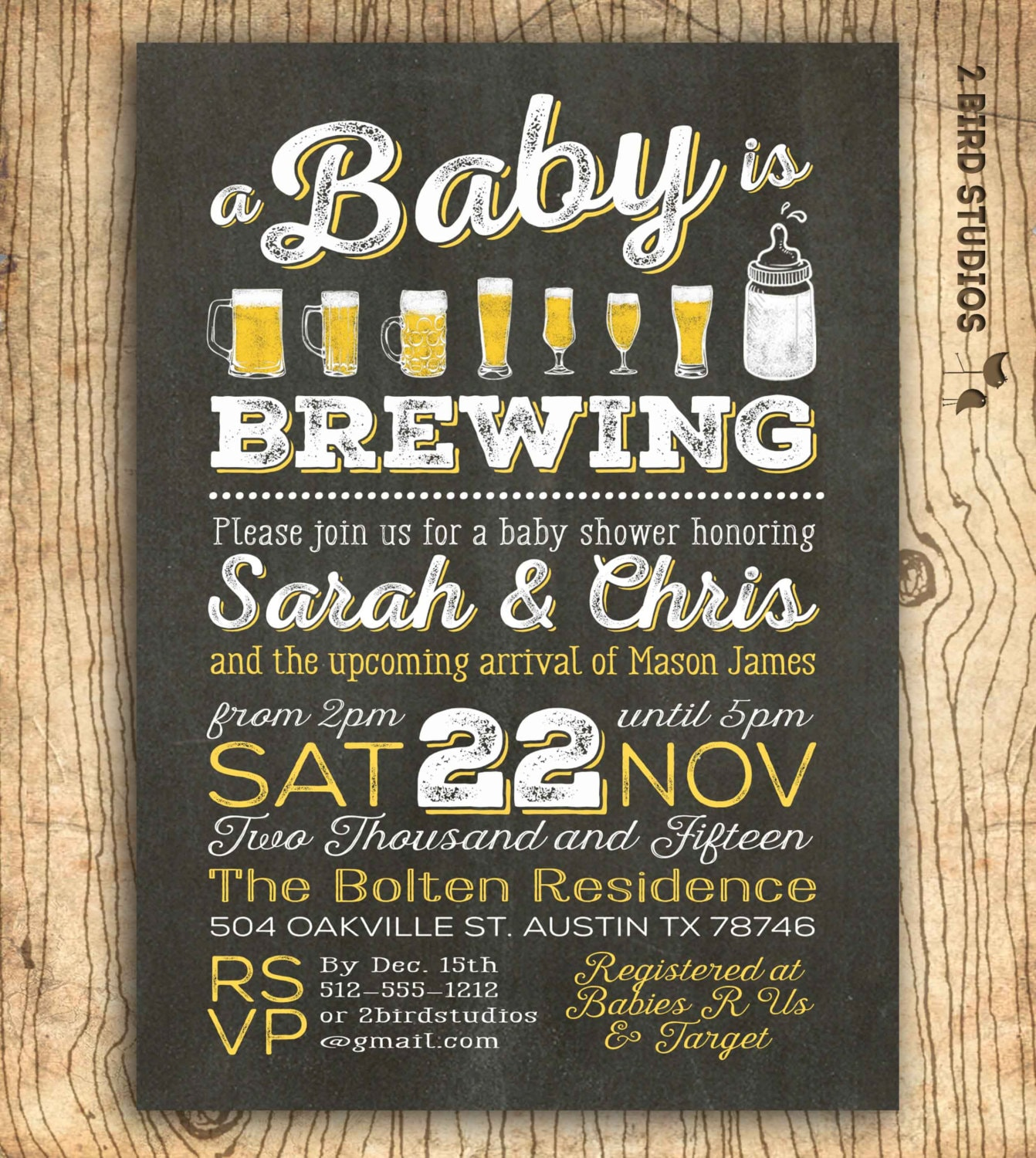 A baby is brewing coed baby shower invitation beer baby