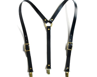 High-Waisted Leather Suspenders (Y-back style) -- Black & Silver