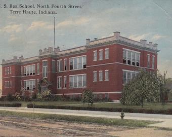 The U. S. Rea School North Fourth Stresst Terre Haute Indiana Postcard A106