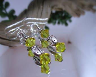Ladybug earrings, Ladybird earrings, Summer earrings, Summer jewelry, Nature jewelry, Drop earrings, Swarovski beads, Handmade earrings