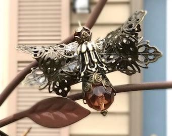 Lightning Bug Brooch, Lightning Bug Jewelry, FireFly Jewelry, Victorian Firefly Brooch, Lightning Bug Brooch, Steampunk Jewelry