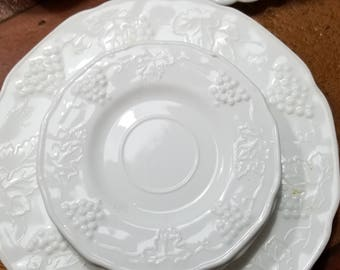 Set of 3 Harvest Colony White Milk Glass Dinner Plates and 4 Coffee Saucer w/ Grape Vine Motif