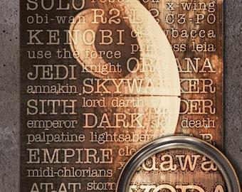 Star Wars: Death Star Typography Woodblock Art