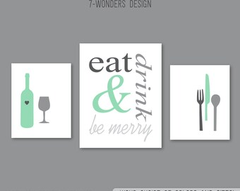 Eat Drink and Be Merry Modern Kitchen Art Print Set of (3), 2 Size Options, Charcoal, Gray, Mint, Utensils, Kitchen Decor - Unframed
