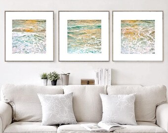Abstract Art Set of 3 Prints Nautical Decor Large Wall Art Prints, Wave Print Instant Download, Photography Prints, Downloadable Art