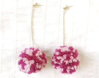 Pink Pom Pom Earrings, Earrings Valentines