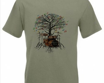Drum Kit T-shirt Musical Drummer Tree percussion in all sizes
