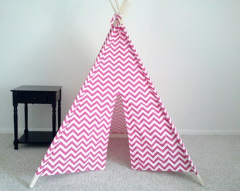 Pink Play Tent, Pink and White Chevron Teepee, Girls Tent, Girls Teepee,  Pink the teepee guy