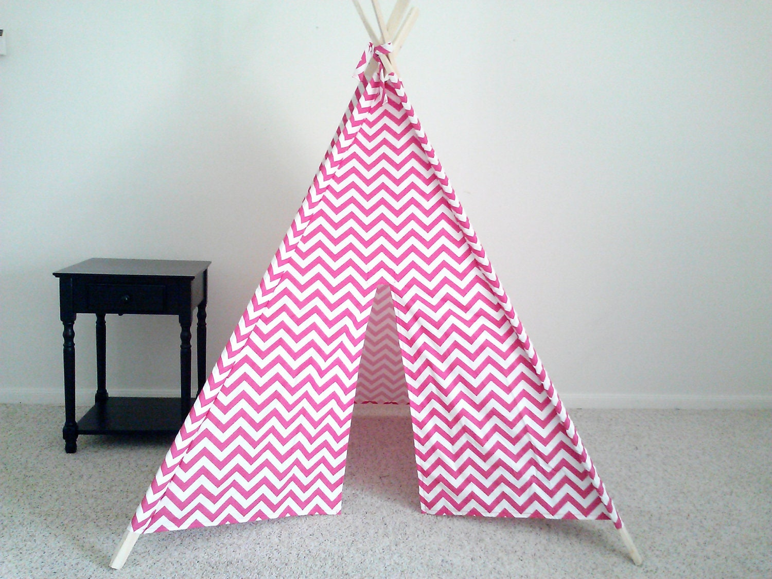 ?zoom & Pink Play Tent Pink and White Chevron Teepee Girls Tent