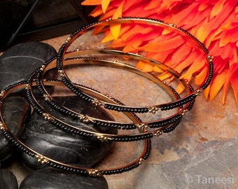 Black & gold bangles,Bangle stack-STACKING BANGLES-set of four bangles-Indian Beaded Bangles-Bollywood bangles by Taneesi Jewelry