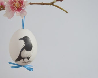 Original Hand Painted Magpie on a White Duck Egg