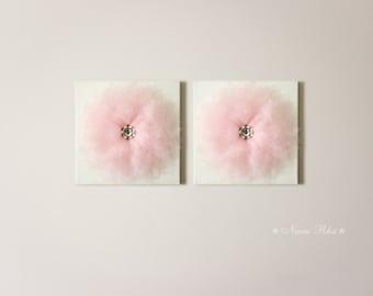 Nursery Decor, Flower Wall Decor, Flower Nursery, Home Decor, Wall Hangings, Baby Shower Decor, Set of Two, 12X12 Canvas