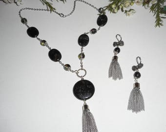 Set stones astrophilite with Crystal beads and silver tassel necklace