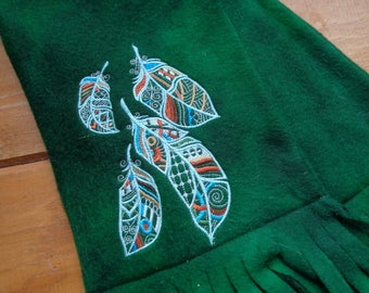 Embroidered Feathers on Green Fleece Cozy Scarf