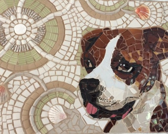 Custom  picassiette broken china mosaic  pet portrait multi media mosaic.