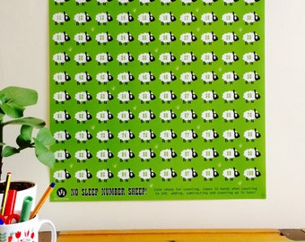 Children's Educational Number Poster. Counting Sheep 1-100 Number Poster. Pre-School Number Poster. No Sleep Number Sheep Poster. uk seller.