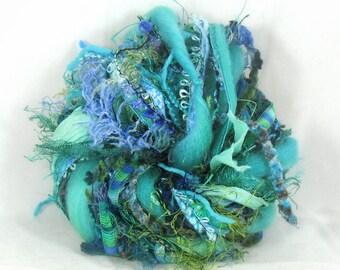 Caribbean Blue Elements 26yd Art Yarn Bundle . Mixed Media Fiber Textile Craft Pack . Wool Sari Silk Aqua Turquoise Teal Luxury Fiber Bundle