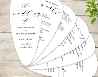 "Petal Fan Wedding Program Printable Template DIY Fan Wedding Program with Petals ""Wedding"" Edit in WORD or PAGES"