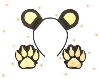 Bear ears headband paws set Brown soft felt cuffs for boy girl kids adult birthday zoo animal party accessory Dress up play Theatre roleplay