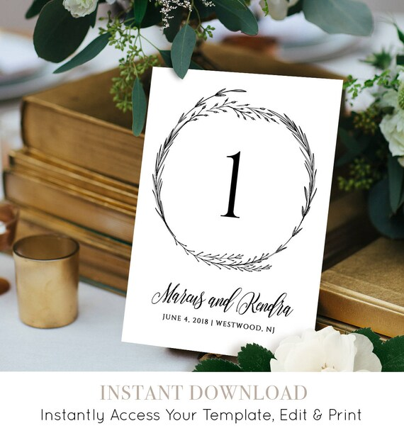 Rustic Table Number Card, Instant Download, Editable Template, Boho Wedding Decor, Wedding Reception Table,  Seating Card, DIY #022-113TC
