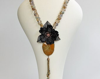 Ocean Anemone, Bead Embroidered Necklace, Bead Woven Flower, Beaded Necklace, Statement Necklace, One of a Kind