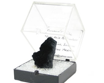 "Romanechite, Black ""rat's hair"" druse Thumbnail Mineral Specimen, Mined in New Mexico"