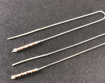 Beaded Threader Earrings - Sterling Silver and Copper