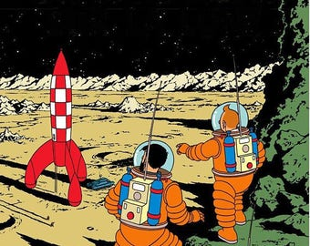 Tintin explorers on the Moon fully lined