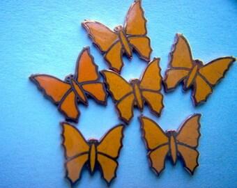 Vintage Enameled Butterflies on Copper x 6   # J 8