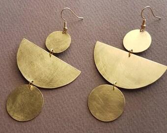Brass earrings,handmade earrings,mat earrings,geometric earrings,statement earrings,boho earrings,half moon