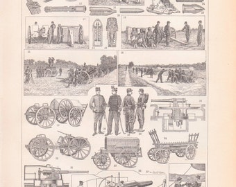 Antique Artillery and Warfare Print - French Print From 1907