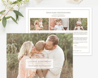 Photography Print Release Form Template, Print Release Template, Photography License Agreement, Photography Forms Photoshop Organic Set