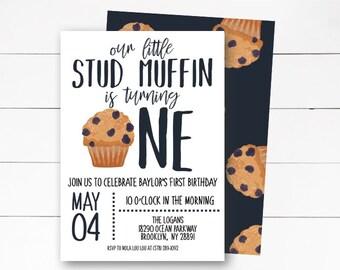 Little Stud Muffin Birthday Invitation, Muffin Birthday Invitation. First Birthday Invitation, Stud Muffin Party, Boy Birthday, DIY or Print