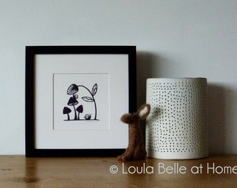 Shrooms and snails, an original mini papercut by Loula Belle at Home