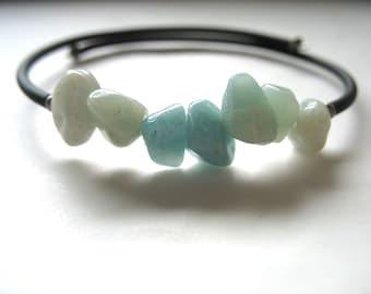 Amazonite Bracelet, Amazonite Stone Bracelet , Handmade Gemstone Cuff  Bracelet Jewelry, Amazonite Jewelry, Sky Blue, Gemstone Bracelet