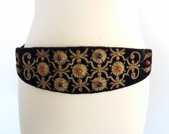 Hand Embroidered Webbing, Embroidered Sash With Beads