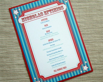 Carnival Theme Birthday Party Invites or Menus - DESIGN FEE