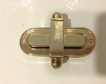 Large size light gold oval turn lock 72mm x 28mm, bag twist lock, clutch bag lock, bag closure, turn lock, metal hardware