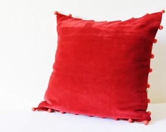 Red Velvet Pillow with Pink Pom Poms , Red Velvet Cushion Cover , Red Decor Pillow , Velvet Throw Pillow , Velvet Cushion