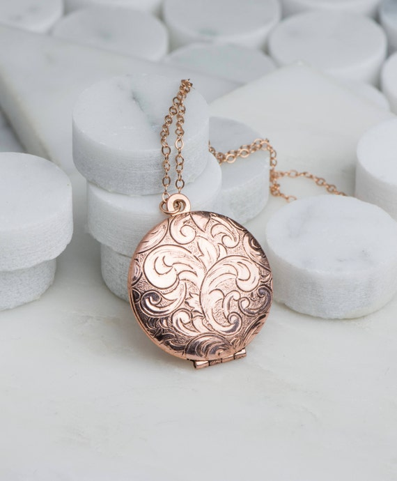 Floral Rose Gold Locket Necklace Picture Locket Paisley Pink