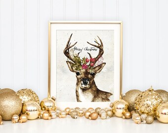 Christmas Deer Printable Art Print, Watercolor Deer Antlers Printable, Merry Christmas Print, Watercolor Holly Art, 5x7, 8x10, 11x14