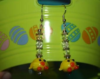 Glass Baby Chick Earrings
